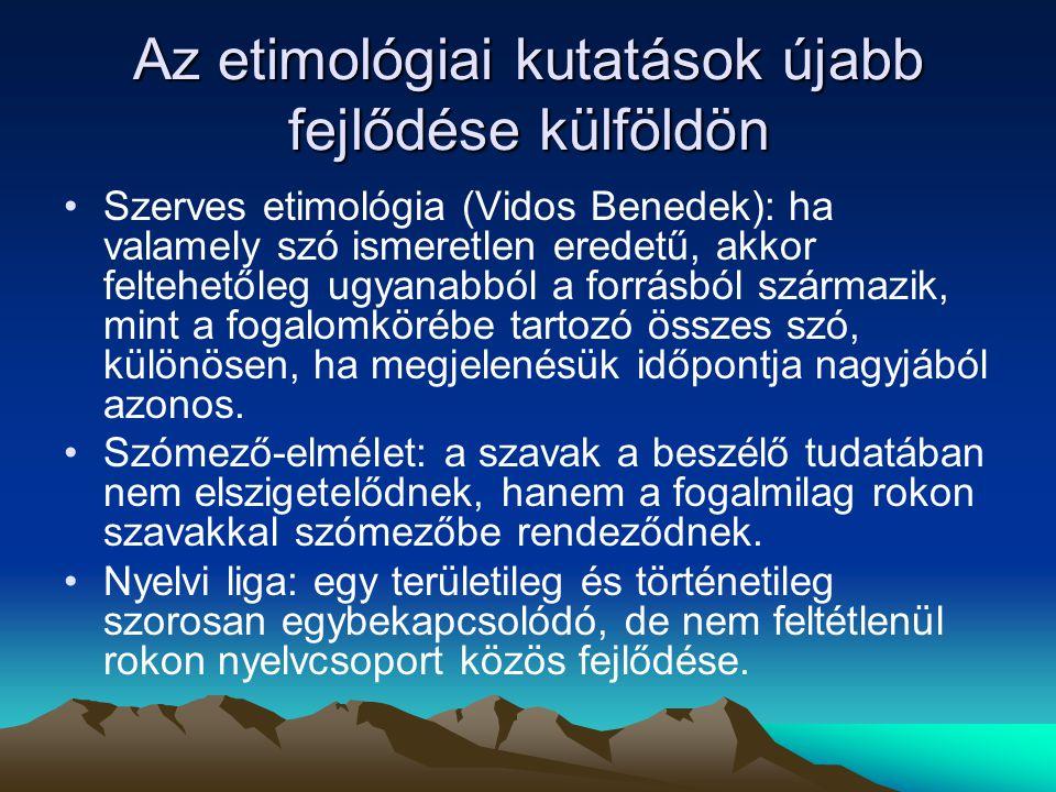 Török jövevénynevek Főként a honfoglalás előtti korszakban kerülnek be nyelvünkbe török személynevek > a honfoglalást követő korai ómagyar korban belőlük helynév válhat Aba (szn.) > Aba, Abany > Abony (hn.) Gyula (mélt.n.) > Gyula (szn.) > Gyula (hn) ba γ atur (kn.) > bátor/Bátor > Bátorterenye
