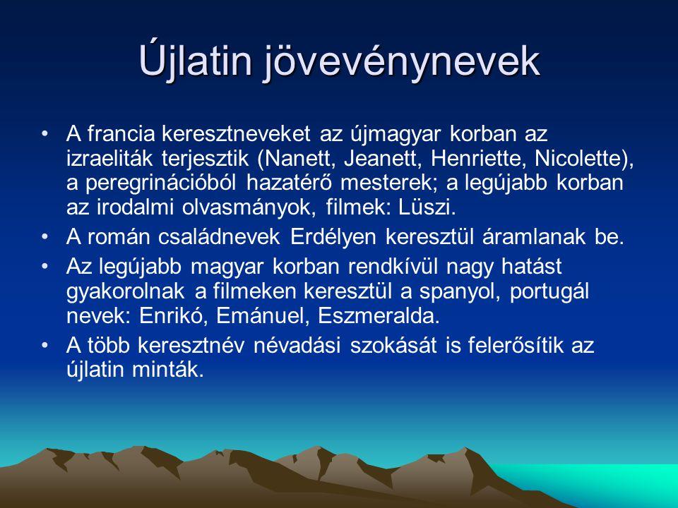 Újlatin jövevénynevek A francia keresztneveket az újmagyar korban az izraeliták terjesztik (Nanett, Jeanett, Henriette, Nicolette), a peregrinációból
