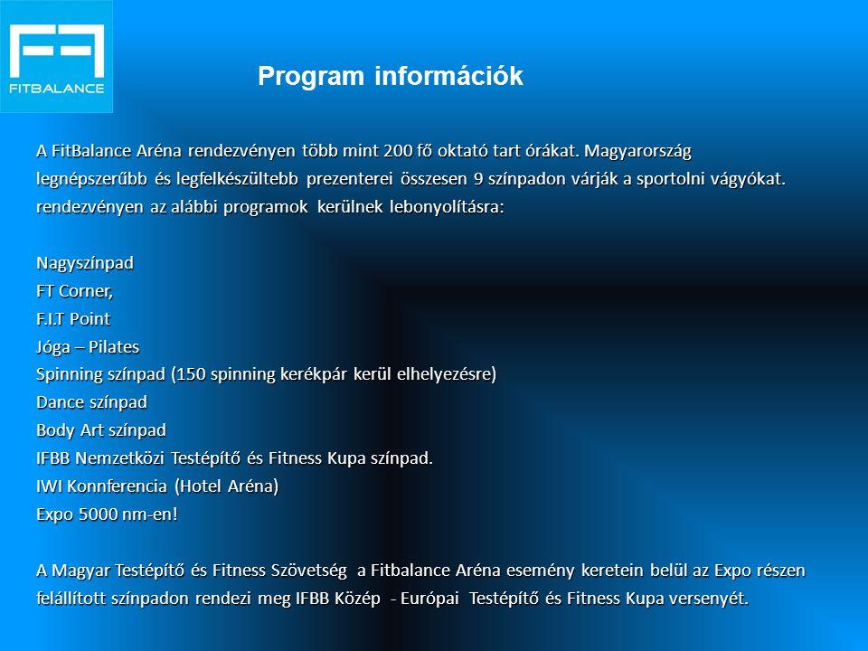 Program információk A FitBalance Aréna rendezvényen több mint 200 fő oktató tart órákat.