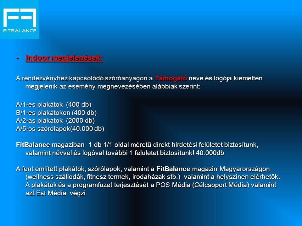 -Indoor megjelenések: A rendezvényhez kapcsolódó szóróanyagon a Támogató neve és logója kiemelten megjelenik az esemény megnevezésében alábbiak szerint: A/1-es plakátok (400 db) B/1-es plakátokon (400 db) A/2-as plakátok (2000 db) A/5-os szórólapok(40.000 db) FitBalance magaziban 1 db 1/1 oldal méretű direkt hirdetési felületet biztosítunk, valamint névvel és logóval további 1 felületet biztosítunk.