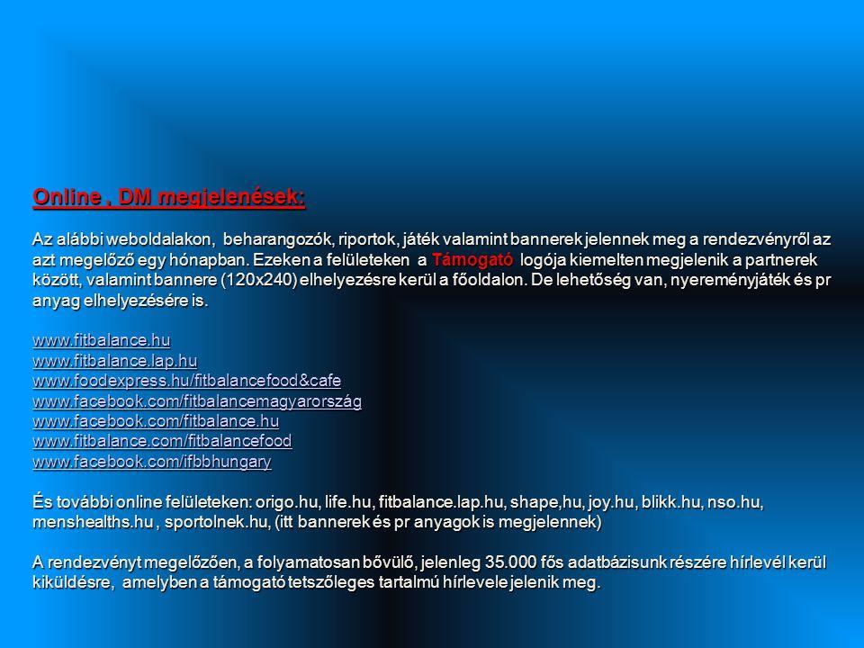 Online, DM megjelenések: Az alábbi weboldalakon, beharangozók, riportok, játék valamint bannerek jelennek meg a rendezvényről az azt megelőző egy hónapban.