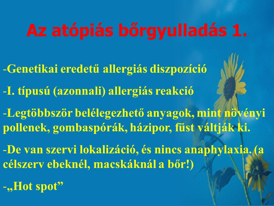 Az allergiás bőrgyulladások felosztása I. Atópiás bőrgyulladás II. Bolha-allergiás bőrgyulladás III. Táplálék okozta allergiás bőrgyulladás IV. Allerg