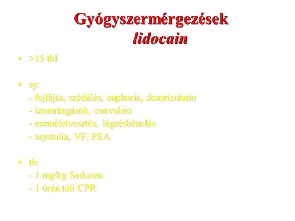 Gyógyszermérgezések lidocain >15 tbl>15 tbl sy:sy: - fejfájás, szédülés, euphoria, desorientatio - izomrángások, convulsio - eszméletvesztés, légzésbénulás - asystolia, VF, PEA th:th: - 1 mg/kg Seduxen - 1 órán túli CPR