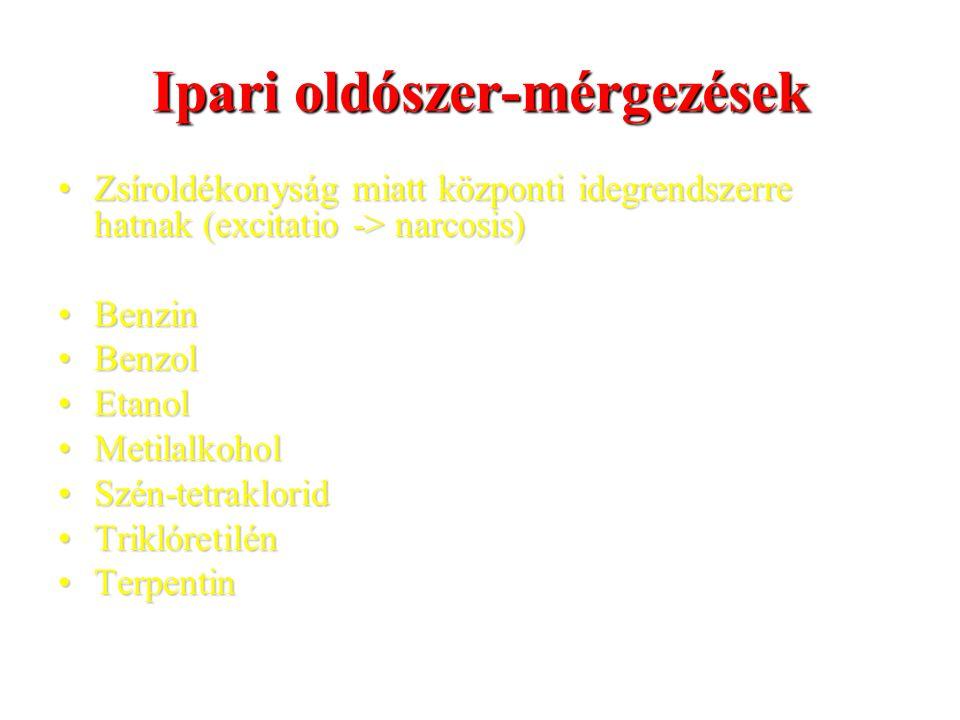 Ipari oldószer-mérgezések Zsíroldékonyság miatt központi idegrendszerre hatnak (excitatio -> narcosis)Zsíroldékonyság miatt központi idegrendszerre hatnak (excitatio -> narcosis) BenzinBenzin BenzolBenzol EtanolEtanol MetilalkoholMetilalkohol Szén-tetrakloridSzén-tetraklorid TriklóretilénTriklóretilén TerpentinTerpentin