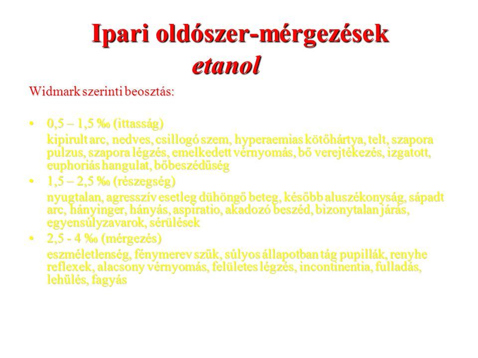Ipari oldószer-mérgezések etanol Widmark szerinti beosztás: 0,5 – 1,5 ‰ (ittasság)0,5 – 1,5 ‰ (ittasság) kipirult arc, nedves, csillogó szem, hyperaem