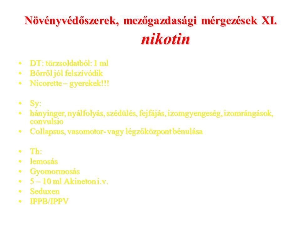 Növényvédőszerek, mezőgazdasági mérgezések XI. nikotin DT: törzsoldatból: 1 mlDT: törzsoldatból: 1 ml Bőrről jól felszívódikBőrről jól felszívódik Nic