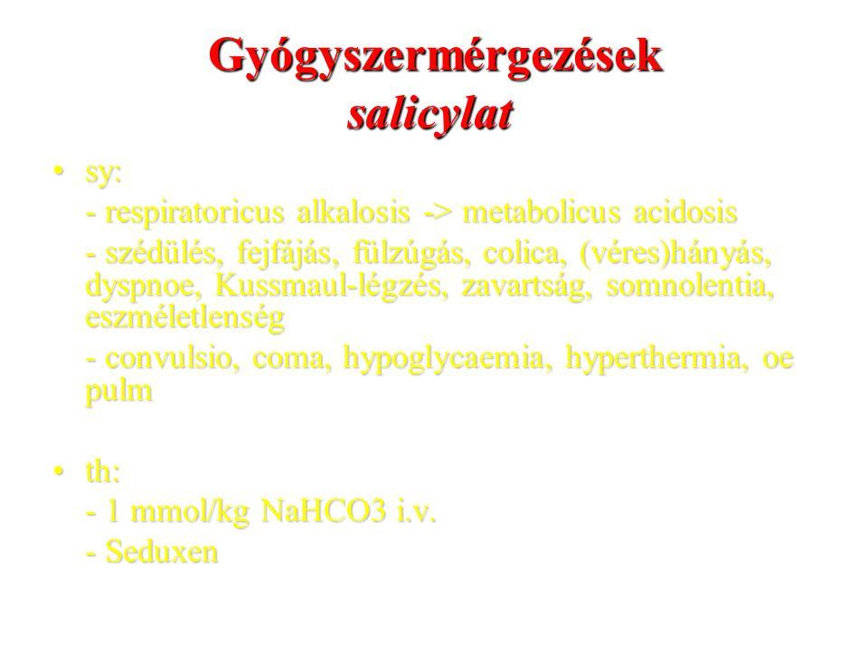 Gyógyszermérgezések salicylat sy:sy: - respiratoricus alkalosis -> metabolicus acidosis - szédülés, fejfájás, fülzúgás, colica, (véres)hányás, dyspnoe, Kussmaul-légzés, zavartság, somnolentia, eszméletlenség - convulsio, coma, hypoglycaemia, hyperthermia, oe pulm th:th: - 1 mmol/kg NaHCO3 i.v.