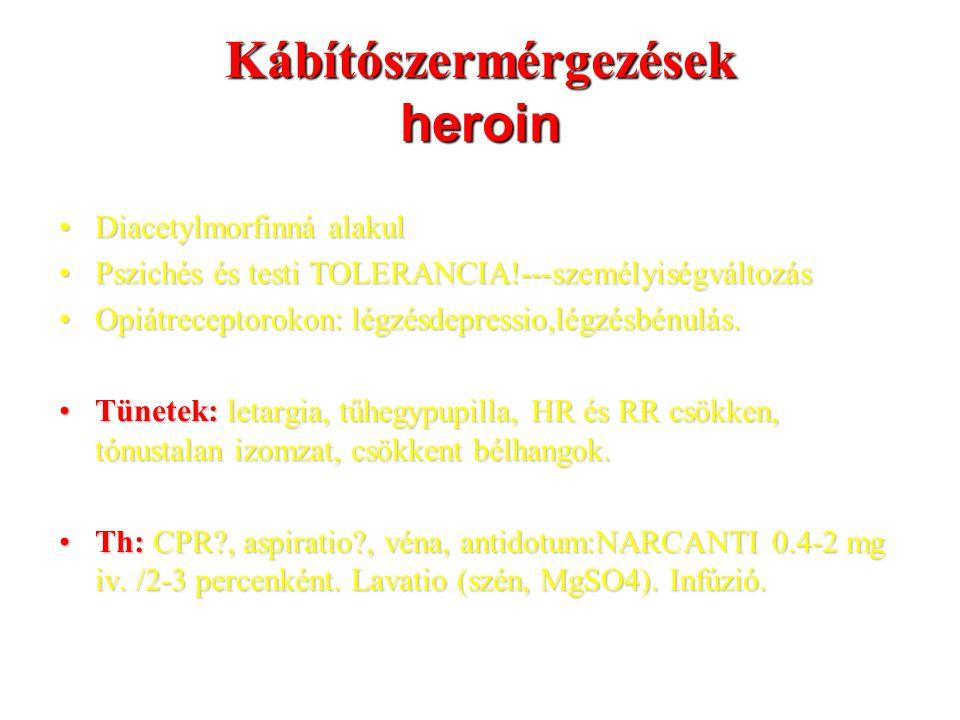 Kábítószermérgezések heroin Diacetylmorfinná alakulDiacetylmorfinná alakul Pszichés és testi TOLERANCIA!---személyiségváltozásPszichés és testi TOLERANCIA!---személyiségváltozás Opiátreceptorokon: légzésdepressio,légzésbénulás.Opiátreceptorokon: légzésdepressio,légzésbénulás.
