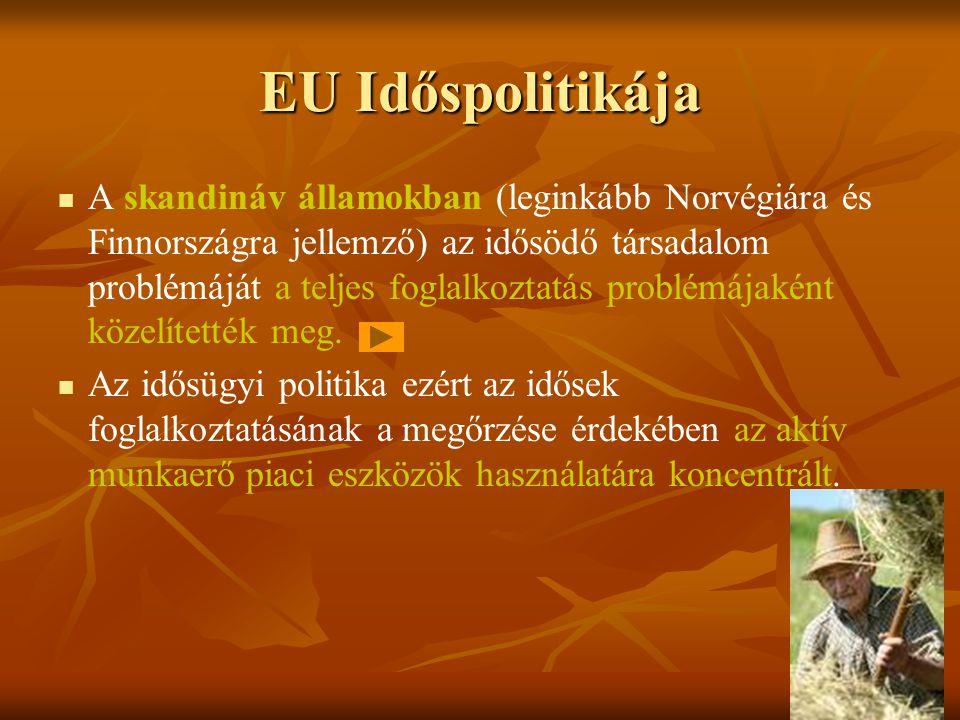 EU Időspolitikája A skandináv államokban (leginkább Norvégiára és Finnországra jellemző) az idősödő társadalom problémáját a teljes foglalkoztatás pro