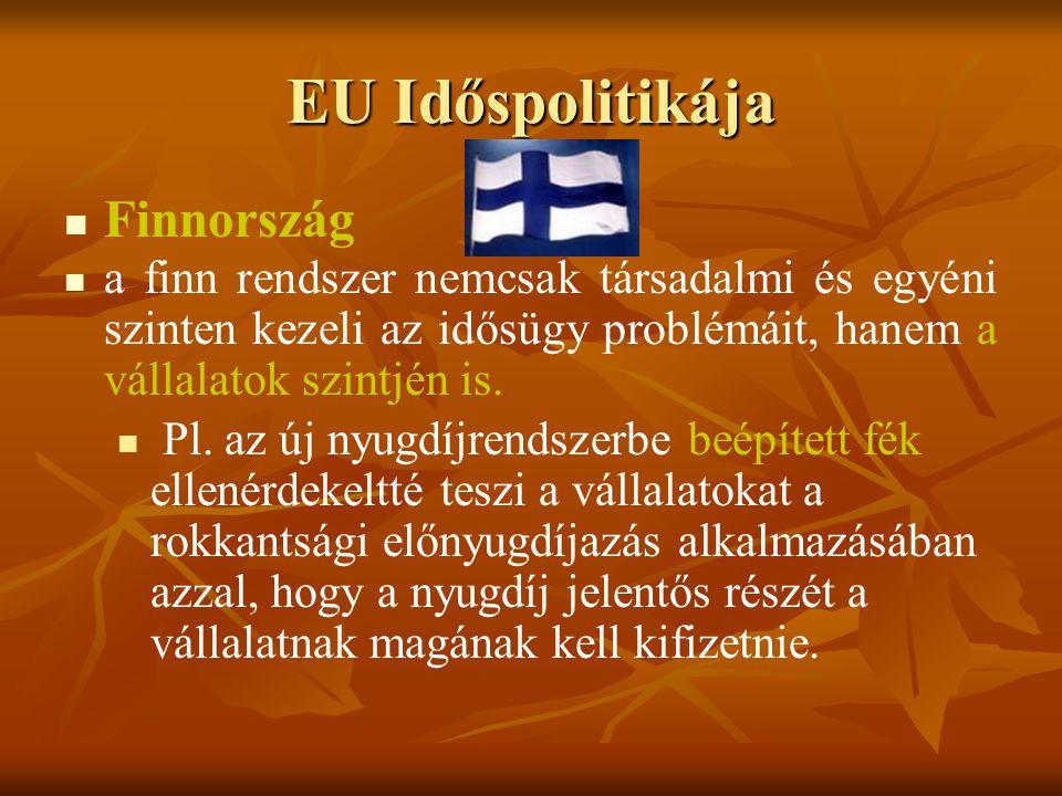 EU Időspolitikája Finnország a finn rendszer nemcsak társadalmi és egyéni szinten kezeli az idősügy problémáit, hanem a vállalatok szintjén is. Pl. az