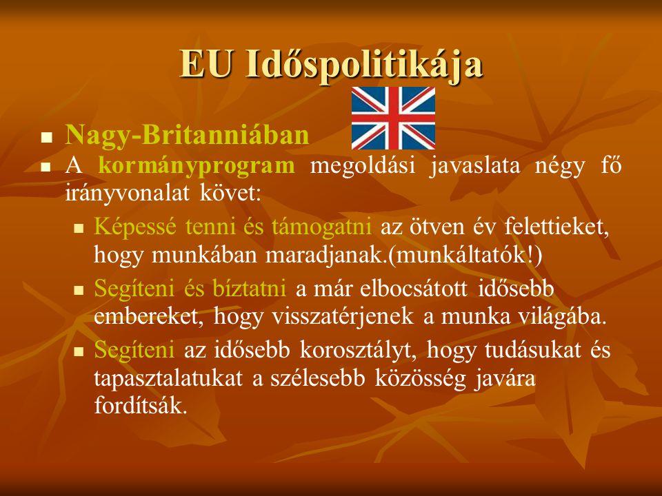 EU Időspolitikája Nagy-Britanniában A kormányprogram megoldási javaslata négy fő irányvonalat követ: Képessé tenni és támogatni az ötven év felettieke