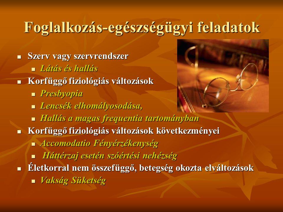 Foglalkozás-egészségügyi feladatok Szerv vagy szervrendszer Szerv vagy szervrendszer Látás és hallás Látás és hallás Korfüggő fiziológiás változások K