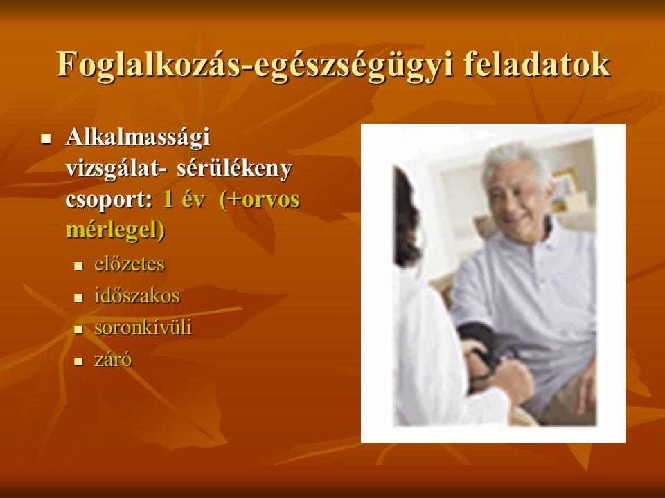 Foglalkozás-egészségügyi feladatok Alkalmassági vizsgálat- sérülékeny csoport: 1 év (+orvos mérlegel) Alkalmassági vizsgálat- sérülékeny csoport: 1 év