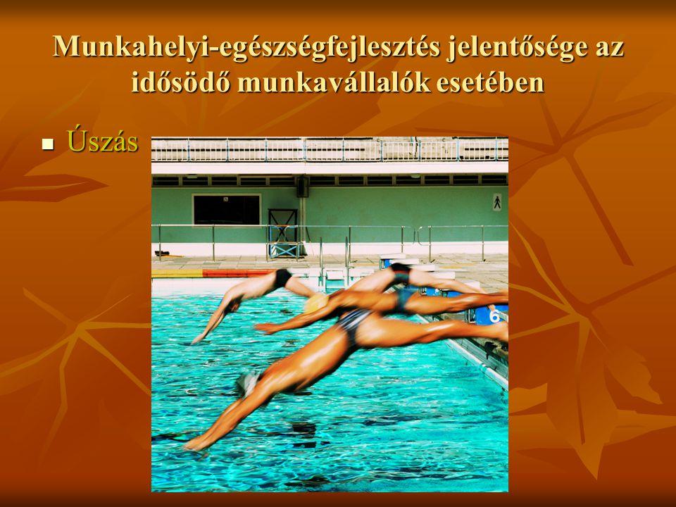 Munkahelyi-egészségfejlesztés jelentősége az idősödő munkavállalók esetében Úszás Úszás