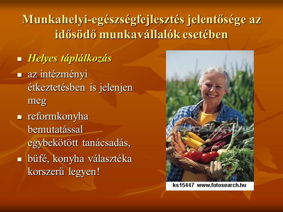 Munkahelyi-egészségfejlesztés jelentősége az idősödő munkavállalók esetében Helyes táplálkozás Helyes táplálkozás az intézményi étkeztetésben is jelen