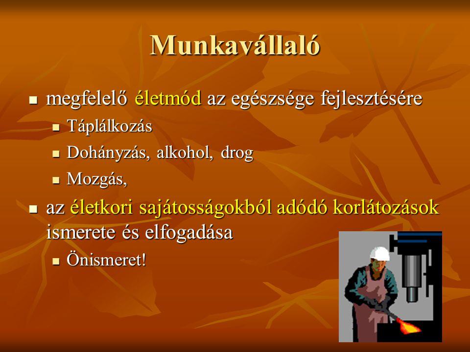 Munkavállaló megfelelő életmód az egészsége fejlesztésére megfelelő életmód az egészsége fejlesztésére Táplálkozás Táplálkozás Dohányzás, alkohol, dro
