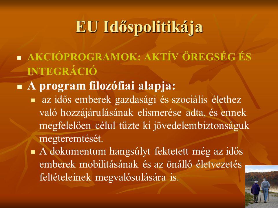 EU Időspolitikája Megfigyelőállomás, obszervatórium (Observatory on Ageing and Older People) az idősek életét befolyásoló folyamatoknak a figyelemmel kisérése munkáját négy területre osztották fel: (a) életminőség és életvezetés, (b) foglalkoztatás és munkaerőpiac, (c) egészség és szociális ellátás, (d) szociális integráció a formális és informális közegben.