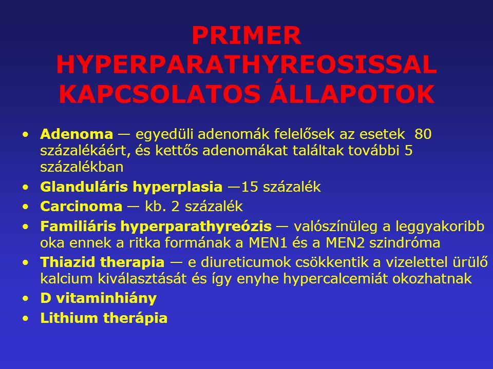 PRIMER HYPERPARATHYREOSISSAL KAPCSOLATOS ÁLLAPOTOK Adenoma — egyedüli adenomák felelősek az esetek 80 százalékáért, és kettős adenomákat találtak tová