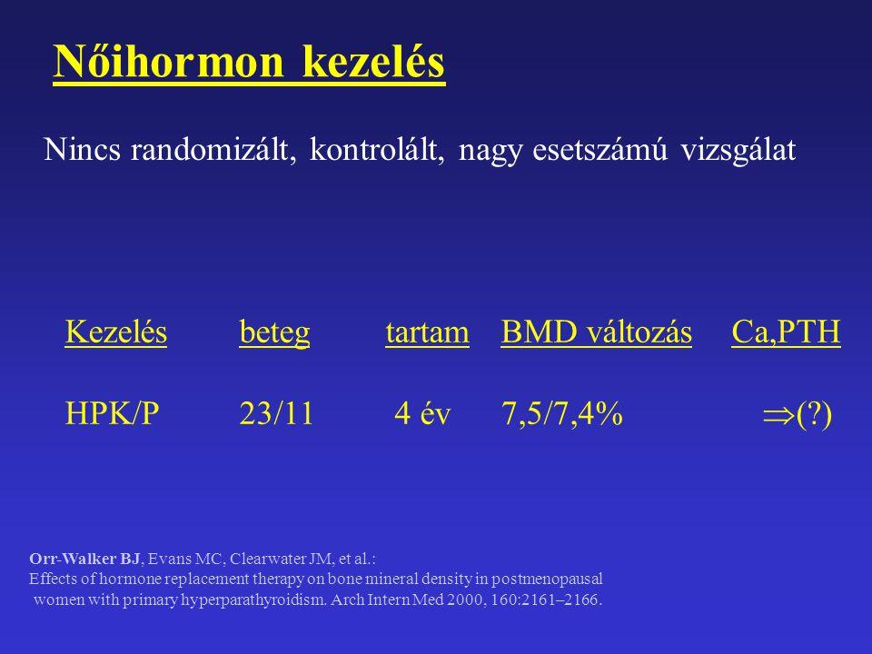 Nőihormon kezelés Kezelésbeteg tartamBMD változás Ca,PTH HPK/P23/11 4 év7,5/7,4%  (?) Orr-Walker BJ, Evans MC, Clearwater JM, et al.: Effects of horm