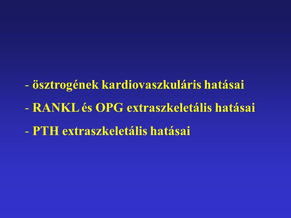 - ösztrogének kardiovaszkuláris hatásai - RANKL és OPG extraszkeletális hatásai - PTH extraszkeletális hatásai