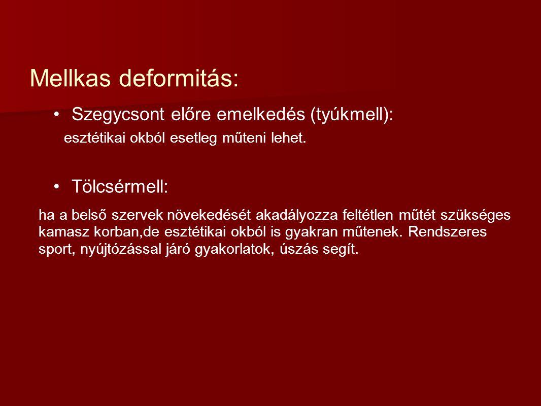 Mellkas deformitás: Szegycsont előre emelkedés (tyúkmell): esztétikai okból esetleg műteni lehet. Tölcsérmell: ha a belső szervek növekedését akadályo