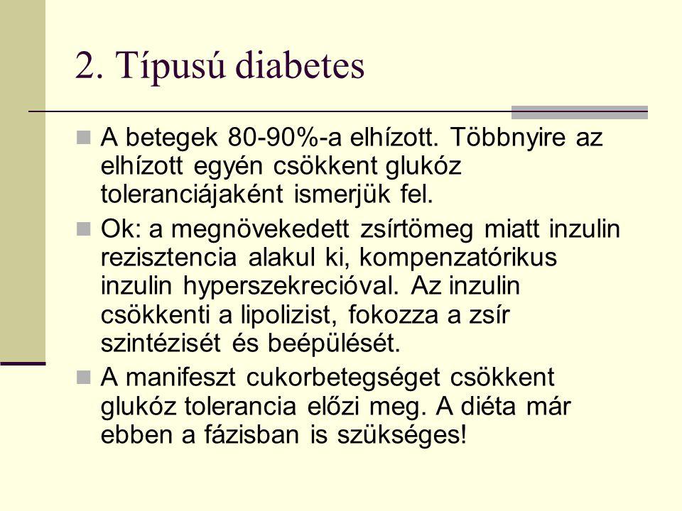 2.Típusú diabetes A betegek 80-90%-a elhízott.