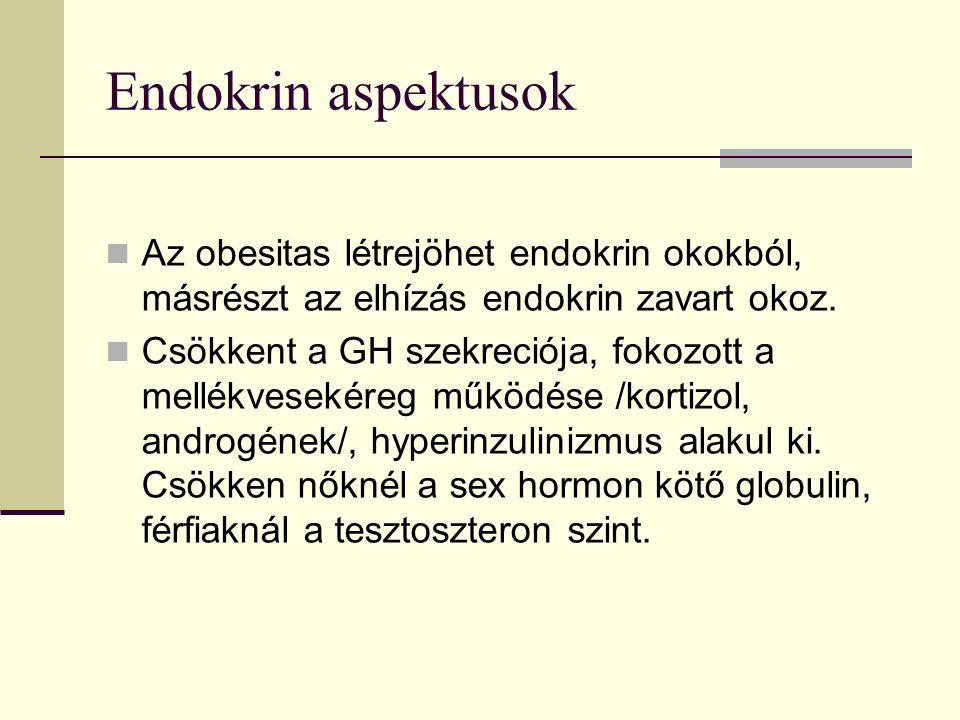 Endokrin aspektusok Az obesitas létrejöhet endokrin okokból, másrészt az elhízás endokrin zavart okoz.