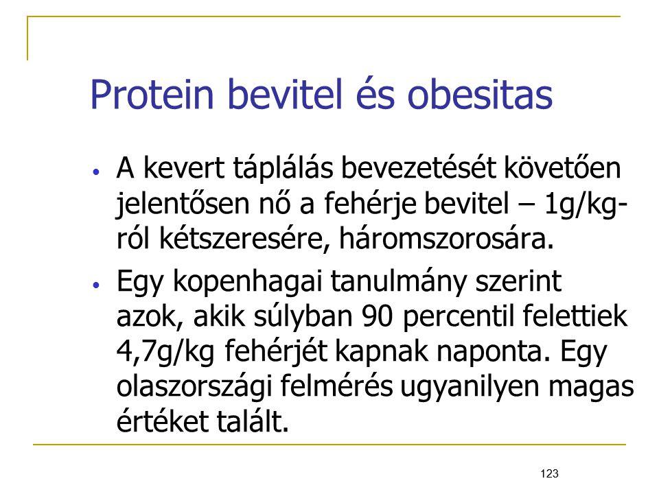 123 Protein bevitel és obesitas A kevert táplálás bevezetését követően jelentősen nő a fehérje bevitel – 1g/kg- ról kétszeresére, háromszorosára.