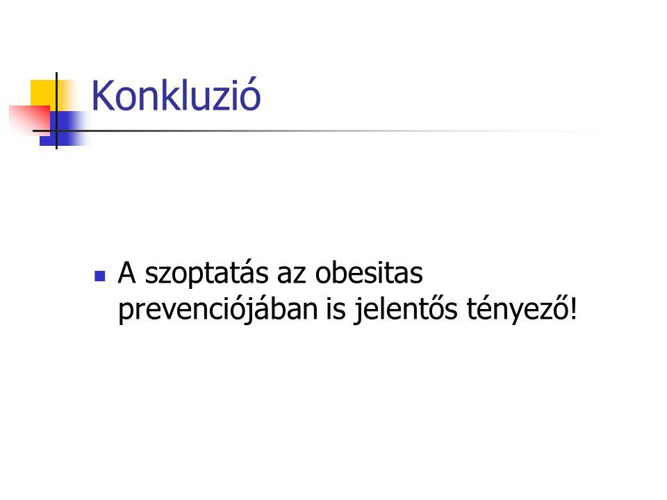 Konkluzió A szoptatás az obesitas prevenciójában is jelentős tényező!