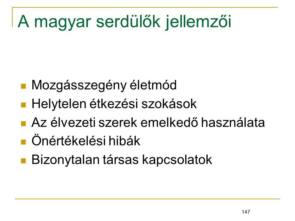 147 A magyar serdülők jellemzői Mozgásszegény életmód Helytelen étkezési szokások Az élvezeti szerek emelkedő használata Önértékelési hibák Bizonytalan társas kapcsolatok 147