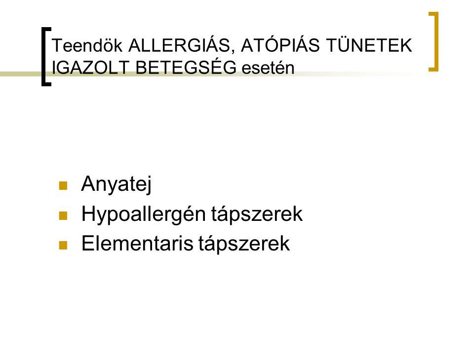 Teendök ALLERGIÁS, ATÓPIÁS TÜNETEK IGAZOLT BETEGSÉG esetén Anyatej Hypoallergén tápszerek Elementaris tápszerek