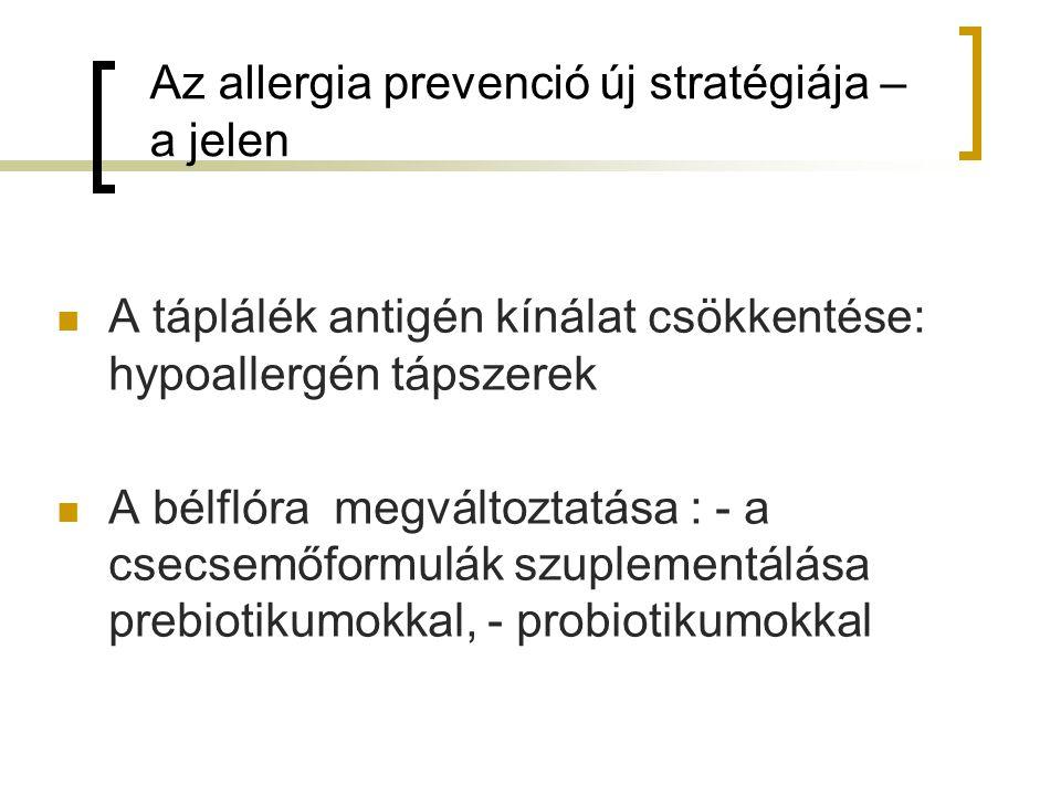 Az allergia prevenció új stratégiája – a jelen A táplálék antigén kínálat csökkentése: hypoallergén tápszerek A bélflóra megváltoztatása : - a csecsemőformulák szuplementálása prebiotikumokkal, - probiotikumokkal
