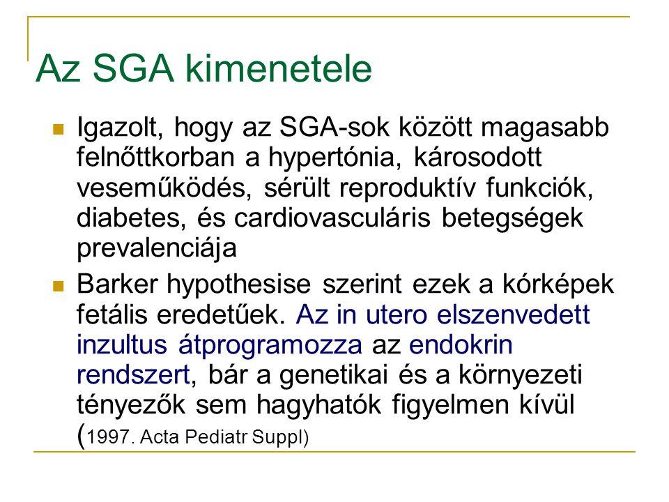 Az SGA kimenetele Igazolt, hogy az SGA-sok között magasabb felnőttkorban a hypertónia, károsodott veseműködés, sérült reproduktív funkciók, diabetes, és cardiovasculáris betegségek prevalenciája Barker hypothesise szerint ezek a kórképek fetális eredetűek.