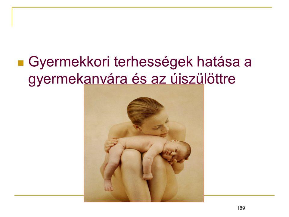 189 Gyermekkori terhességek hatása a gyermekanyára és az újszülöttre 189