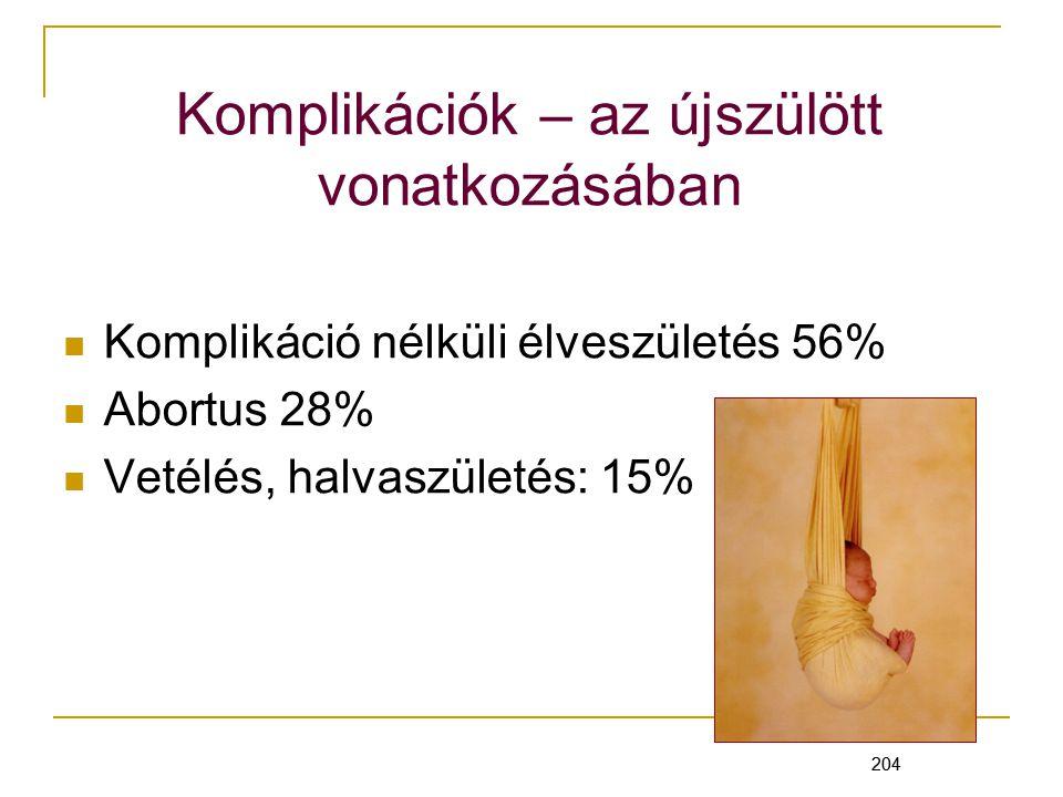 204 Komplikációk – az újszülött vonatkozásában Komplikáció nélküli élveszületés 56% Abortus 28% Vetélés, halvaszületés: 15% 204