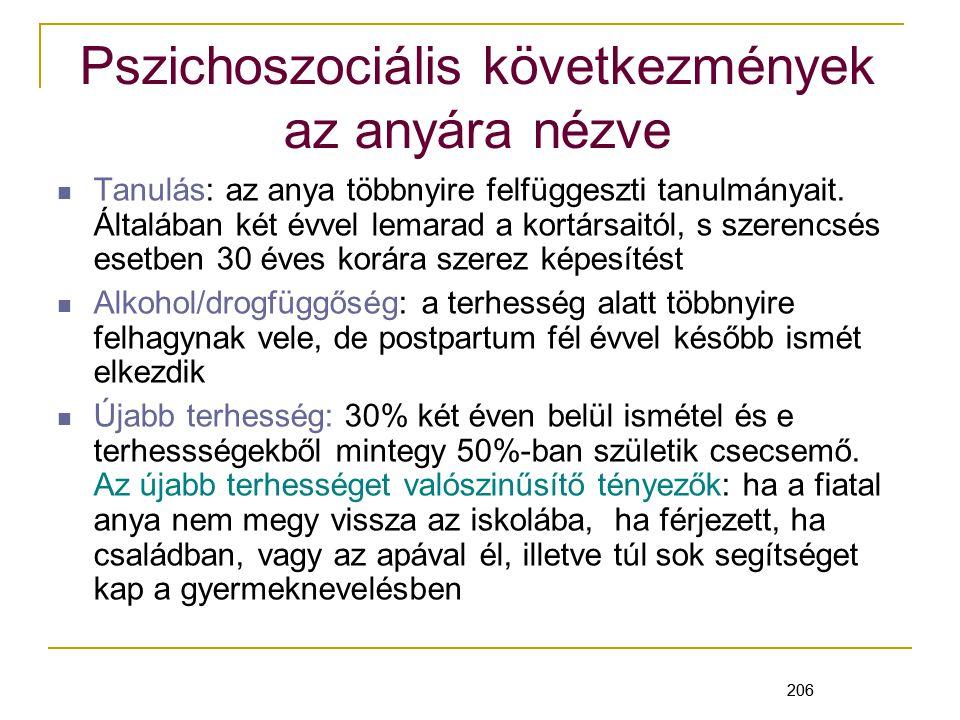 206 Pszichoszociális következmények az anyára nézve Tanulás: az anya többnyire felfüggeszti tanulmányait.