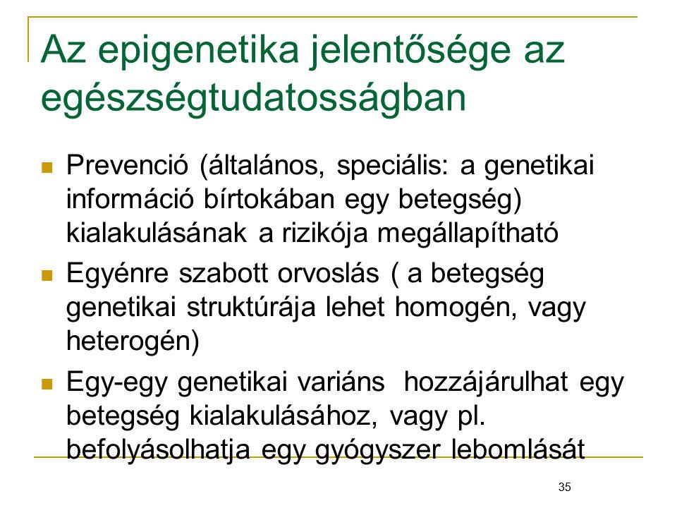 35 Az epigenetika jelentősége az egészségtudatosságban Prevenció (általános, speciális: a genetikai információ bírtokában egy betegség) kialakulásának a rizikója megállapítható Egyénre szabott orvoslás ( a betegség genetikai struktúrája lehet homogén, vagy heterogén) Egy-egy genetikai variáns hozzájárulhat egy betegség kialakulásához, vagy pl.
