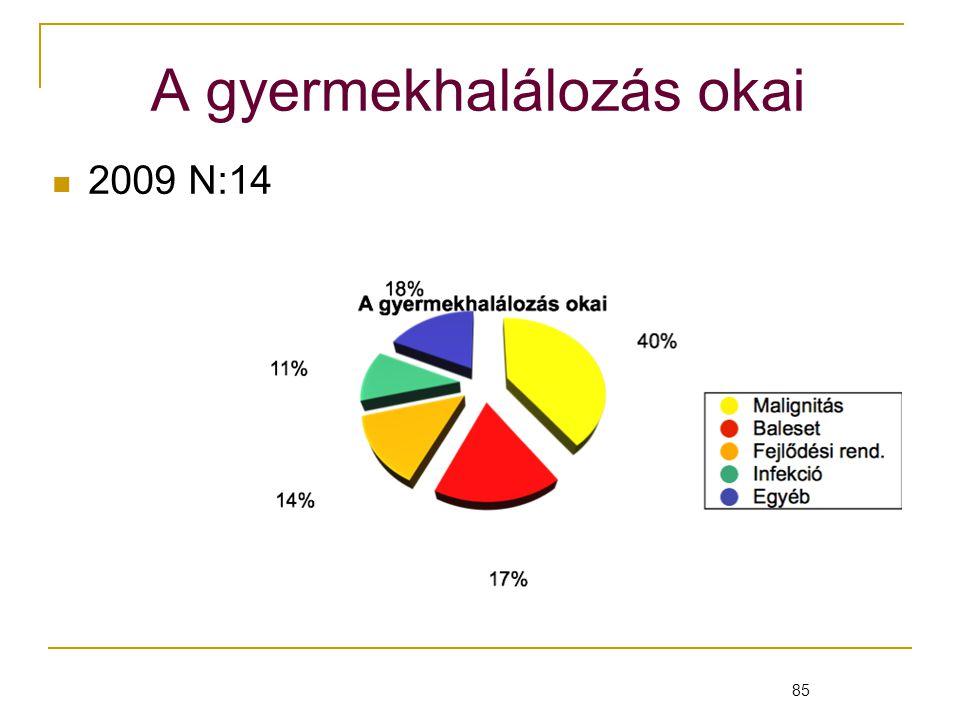 85 A gyermekhalálozás okai 2009 N:14