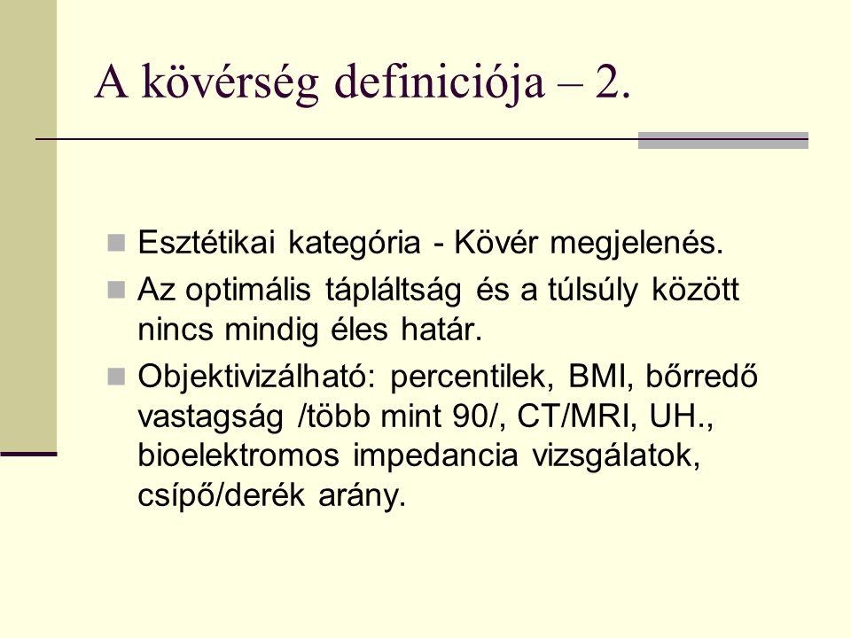 A kövérség definiciója – 2.Esztétikai kategória - Kövér megjelenés.