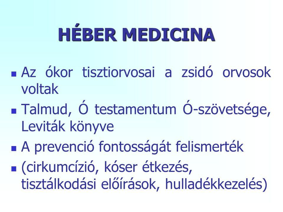 HÉBER MEDICINA Az ókor tisztiorvosai a zsidó orvosok voltak Talmud, Ó testamentum Ó-szövetsége, Leviták könyve A prevenció fontosságát felismerték (cirkumcízió, kóser étkezés, tisztálkodási előírások, hulladékkezelés)