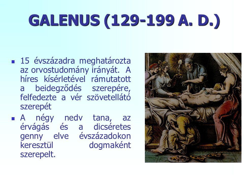 GALENUS (129-199 A. D.) 15 évszázadra meghatározta az orvostudomány irányát. A híres kísérletével rámutatott a beidegződés szerepére, felfedezte a vér
