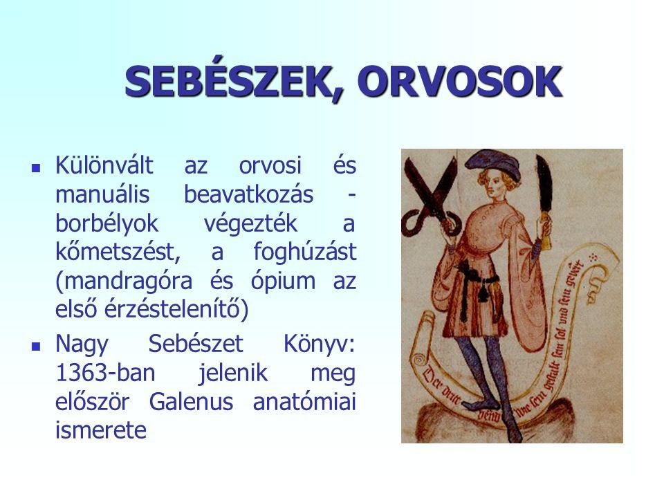SEBÉSZEK, ORVOSOK Különvált az orvosi és manuális beavatkozás - borbélyok végezték a kőmetszést, a foghúzást (mandragóra és ópium az első érzéstelenítő) Nagy Sebészet Könyv: 1363-ban jelenik meg először Galenus anatómiai ismerete