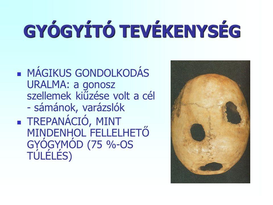 GYÓGYÍTÓ TEVÉKENYSÉG MÁGIKUS GONDOLKODÁS URALMA: a gonosz szellemek kiűzése volt a cél - sámánok, varázslók TREPANÁCIÓ, MINT MINDENHOL FELLELHETŐ GYÓGYMÓD (75 %-OS TÚLÉLÉS)