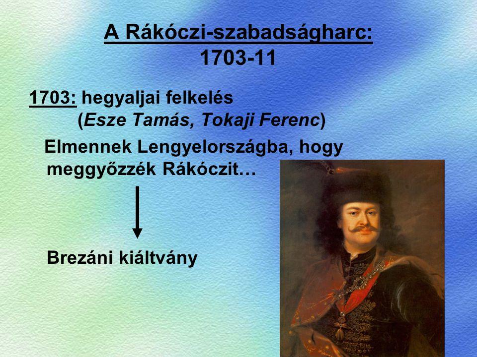 A Rákóczi-szabadságharc: 1703-11 1703: hegyaljai felkelés (Esze Tamás, Tokaji Ferenc) Elmennek Lengyelországba, hogy meggyőzzék Rákóczit… Brezáni kiál