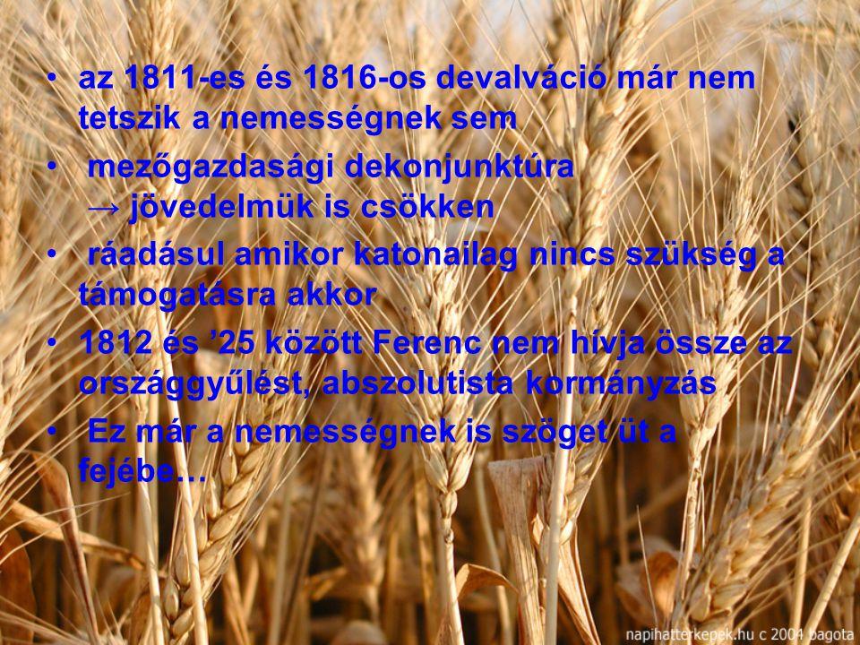 az 1811-es és 1816-os devalváció már nem tetszik a nemességnek sem mezőgazdasági dekonjunktúra → jövedelmük is csökken ráadásul amikor katonailag ninc
