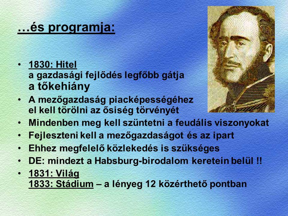 …és programja: 1830: Hitel a gazdasági fejlődés legfőbb gátja a tőkehiány A mezőgazdaság piacképességéhez el kell törölni az ősiség törvényét Mindenbe