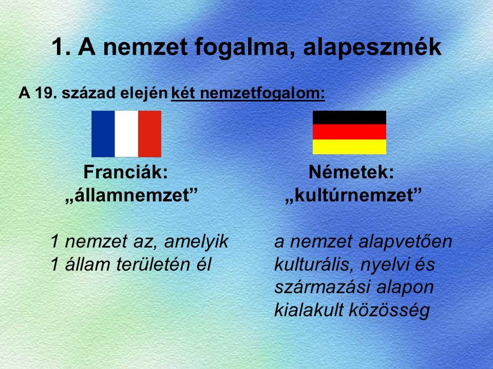 """1. A nemzet fogalma, alapeszmék Franciák: """"államnemzet"""" 1 nemzet az, amelyik 1 állam területén él Németek: """"kultúrnemzet"""" a nemzet alapvetően kulturál"""