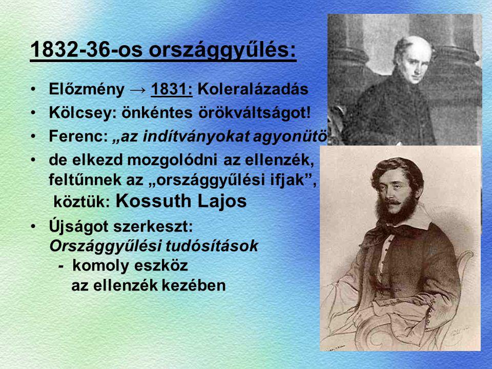"""1832-36-os országgyűlés: Előzmény → 1831: Koleralázadás Kölcsey: önkéntes örökváltságot! Ferenc: """"az indítványokat agyonütöm"""" de elkezd mozgolódni az"""