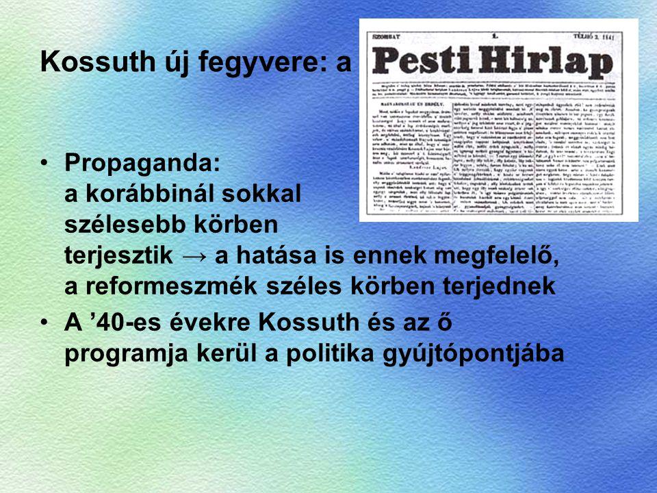 Kossuth új fegyvere: a Propaganda: a korábbinál sokkal szélesebb körben terjesztik → a hatása is ennek megfelelő, a reformeszmék széles körben terjedn