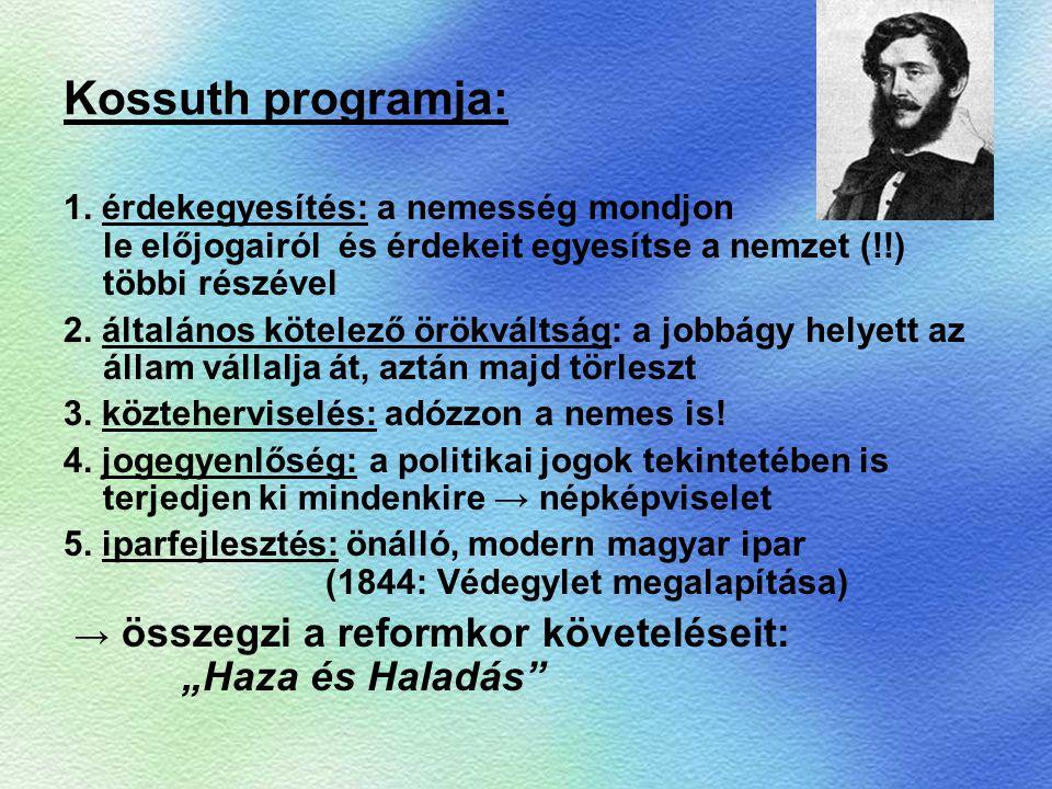 Kossuth programja: 1. érdekegyesítés: a nemesség mondjon le előjogairól és érdekeit egyesítse a nemzet (!!) többi részével 2. általános kötelező örökv